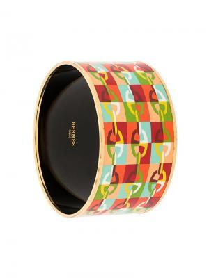 Браслет жесткой формы с принтом Hermès Vintage. Цвет: розовый