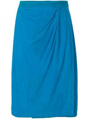 Кожаная юбка с драпировкой спереди Yves Saint Laurent Pre-Owned. Цвет: синий