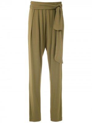 Зауженные брюки с драпировкой Andrea Marques. Цвет: коричневый