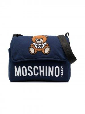 Пеленальная сумка Teddy Bear с логотипом Moschino Kids. Цвет: синий