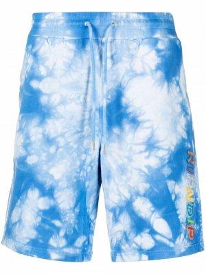 Tie dye-print track shorts Ripndip. Цвет: синий