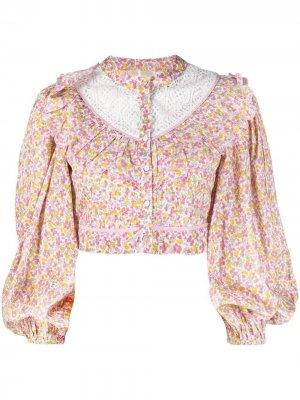 Укороченная блузка с цветочным принтом LoveShackFancy. Цвет: розовый