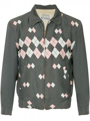 Жакет в клетку аргайл стиле 1950-х Fake Alpha Vintage. Цвет: серый
