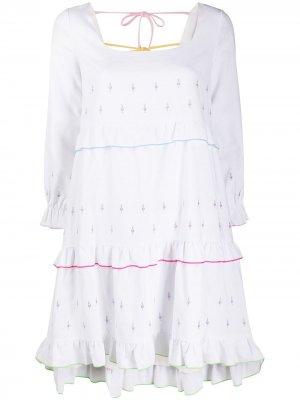 Платье мини Odelia с вышивкой Olivia Rubin. Цвет: белый