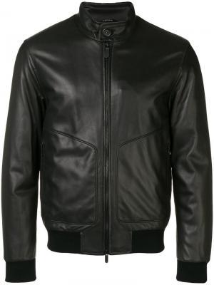 Leather bomber jacket Z Zegna. Цвет: черный