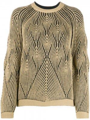 Джемпер с геометричным узором Alberta Ferretti. Цвет: нейтральные цвета