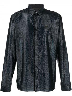 Рубашка с длинными рукавами и эффектом металлик Philipp Plein. Цвет: черный