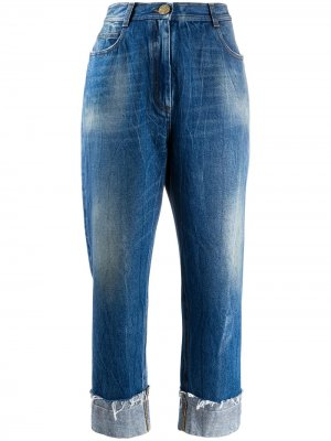 Укороченные джинсы широкого кроя Balmain. Цвет: синий