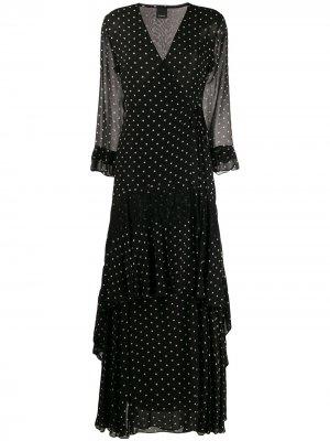 Платье с запахом в горох Pinko. Цвет: черный
