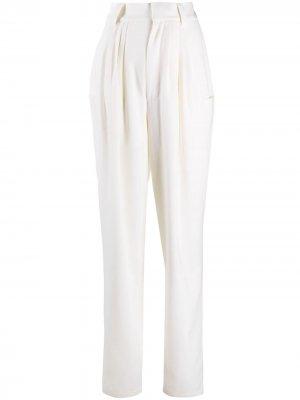 Зауженные брюки с завышенной талией Alessandra Rich. Цвет: белый
