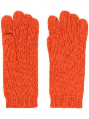 Перчатки с манжетами в рубчик Aspesi. Цвет: оранжевый