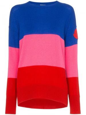 Кашемировый джемпер в полоску с нашивкой-логотипом Moncler. Цвет: 455 голубой розовый red