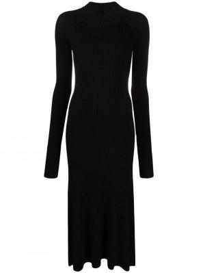 Приталенное платье в рубчик Dion Lee. Цвет: черный