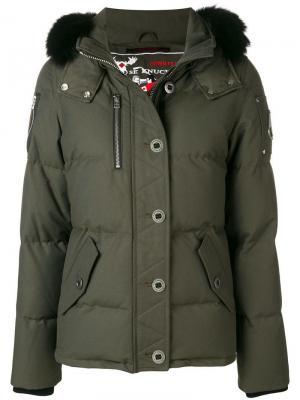 Hooded padded jacket Moose Knuckles. Цвет: зеленый