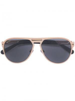 Солнцезащитные очки авиаторы Bulgari. Цвет: металлик