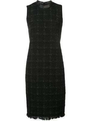 Клетчатое приталенное платье Akris Punto. Цвет: черный