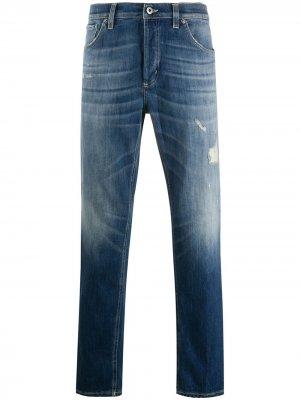 Зауженные джинсы с эффектом потертости Dondup. Цвет: синий