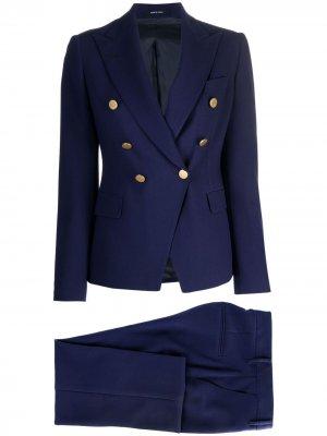 Костюм Alicya с двубортным пиджаком Tagliatore. Цвет: синий