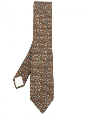 Галстук с принтом Hermès Vintage. Цвет: коричневый