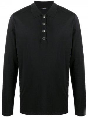 Рубашка поло с длинными рукавами Balmain. Цвет: черный