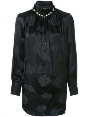 Блузка с высоким воротом и цветочным принтом Mother Of Pearl. Цвет: синий