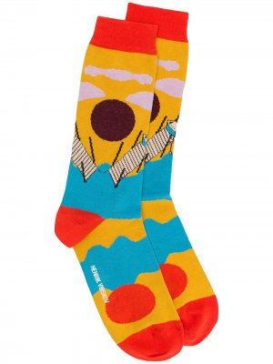 Носки вязки интарсия Henrik Vibskov. Цвет: желтый