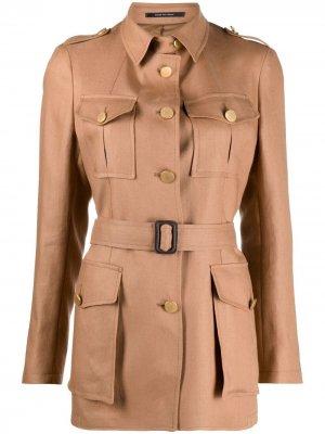 Однобортная куртка в стиле милитари Tagliatore. Цвет: коричневый