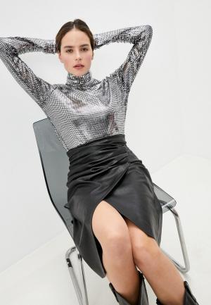 Блуза MM6 Maison Margiela. Цвет: серебряный