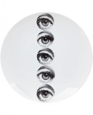Тарелка с принтом глаз Fornasetti. Цвет: белый
