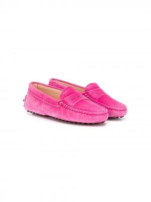 Tods Kids однотонные лоферы Tod's. Цвет: розовый
