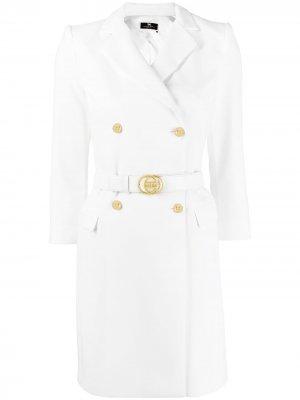 Платье-блейзер с поясом Elisabetta Franchi. Цвет: белый