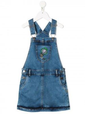 Джинсовый сарафан с вышивкой Zadig & Voltaire Kids. Цвет: синий