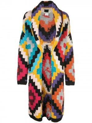 Кардиган-пальто Astrid с геометричным узором Alice+Olivia. Цвет: разноцветный