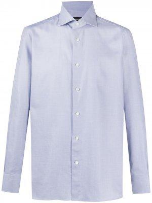 Рубашка со срезанным воротником Ermenegildo Zegna. Цвет: синий