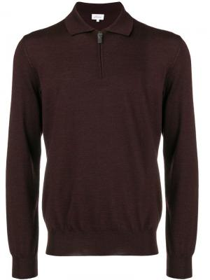 Front zipped polo shirt Brioni. Цвет: красный