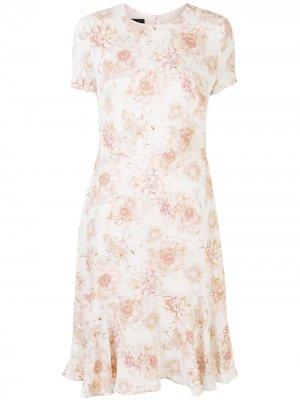 Платье-трапеция длины миди с цветочным принтом Escada. Цвет: белый