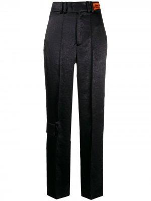 Атласные брюки прямого кроя Heron Preston. Цвет: черный