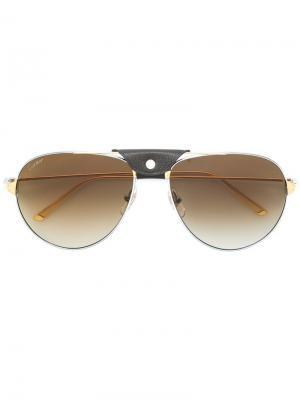 Солнцезащитные очки Santos de Cartier. Цвет: металлик
