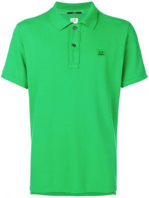 Рубашка-поло с вышитым логотипом CP Company. Цвет: зеленый