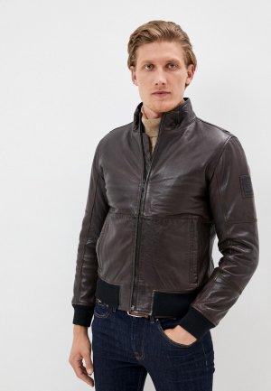 Куртка кожаная Strellson. Цвет: коричневый