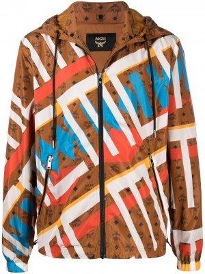 Куртка с геометричным принтом MCM. Цвет: коричневый