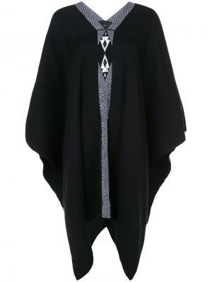 Вязаное пончо VOZ. Цвет: черный