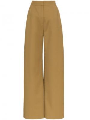 Широкие брюки прямого кроя Vika Gazinskaya. Цвет: зеленый