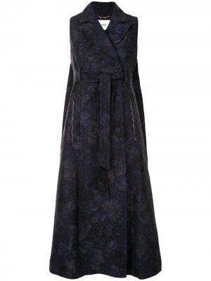 Жаккардовое пальто с цветочным узором и поясом Erdem. Цвет: синий