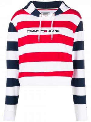Худи в полоску с вышитым логотипом Tommy Jeans. Цвет: белый