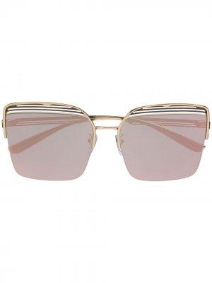 Солнцезащитные очки в квадратной оправе Bvlgari. Цвет: золотистый