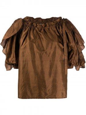 Блузка с пышными рукавами и оборками Yves Saint Laurent Pre-Owned. Цвет: коричневый