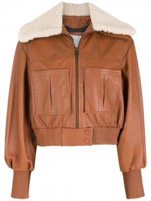 Куртка с воротником из овчины Nk. Цвет: коричневый