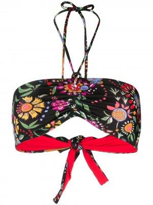 Топ-бандо с цветочным принтом La Doublej. Цвет: черный