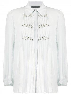 Прозрачная рубашка с оборками Alberta Ferretti. Цвет: серый